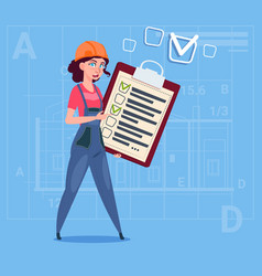 cartoon female builder carpenter hold checklist vector image vector image
