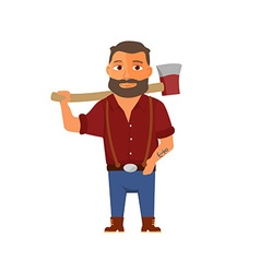 Cartoon lumberjack character with axe vector image vector image