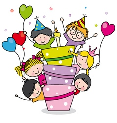 Children with a cake vector image vector image