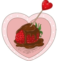Chocolate covered strawberrie and heart vector