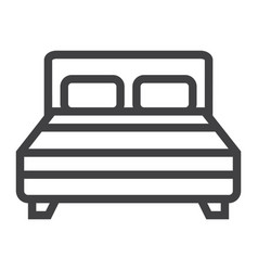 Double bed line icon furniture and interior vector