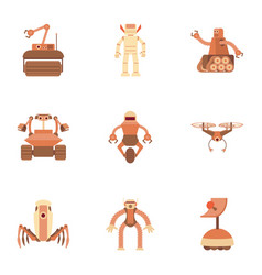 electronic monster icons set cartoon style vector image