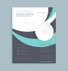 Elegant wavy gray and blue business flyer design vector