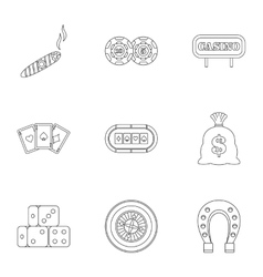 Gambling house icons set outline style vector