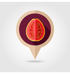 Guava flat pin map icon Tropical fruit vector image vector image