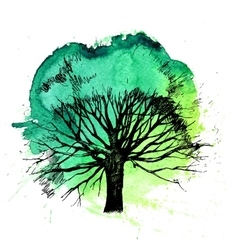 Hand drawn tree silhouette vector
