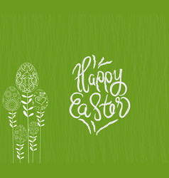 happy easter with stalks tree eggs background vector image