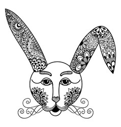 Hare rabbit doodle style hand drawn vector