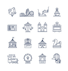 luna park amusement line icons vector image