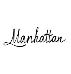 manhattan text vintage retro lettering design vector image