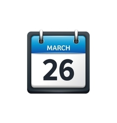 March 26 calendar icon flat vector