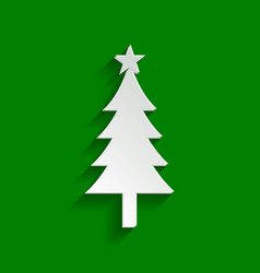 New year tree sign paper whitish icon vector