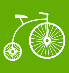 Penny-farthing icon green vector