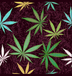 Seamless pattern with colorful leaves of marijuana vector