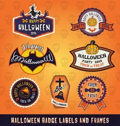 Set of halloween badge label and frames design vector