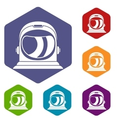 Space helmet icons set vector image