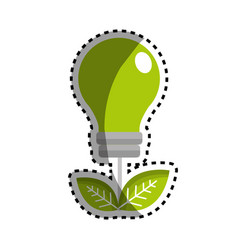 sticker green energy bulb with leaves icon vector image