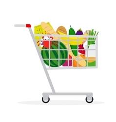 Supermarket shopping cart vector image vector image
