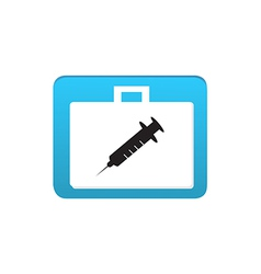 syringe icon in white bag vector image