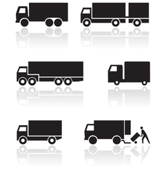Truck or van symbol set vector