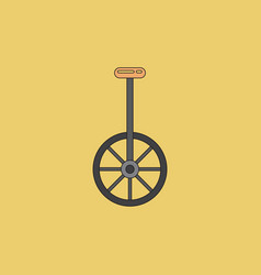 Unicycle one wheel bicycle cartoon flat style vector