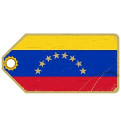 Vintage label with the flag of venezuela vector