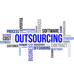 word cloud outsourcing vector image vector image