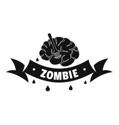 Zombie brain logo simple black style vector