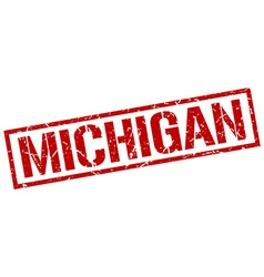 Michigan red square stamp vector