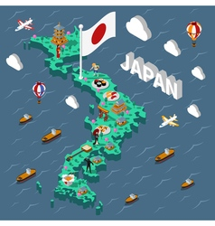 Japan touristic isometric map vector