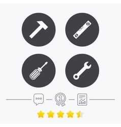 Screwdriver and bubble level hammer vector