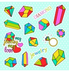 Fashion patch badges pop art diamonds and jewelry vector