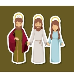 jesus mary and joseph cartoon design vector image