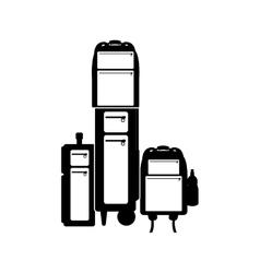 Black ilhouette multiple baggage with bottle vector