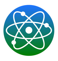 Atom sign   white icon in vector