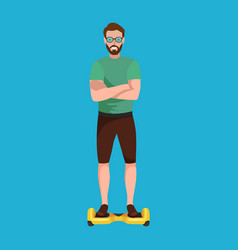 active peoples fun with electric scooter segway vector image