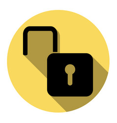 Unlock sign   flat black icon vector