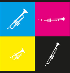 Musical instrument trumpet sign  white vector