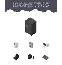 isometric work set of desk file rack garbage vector image