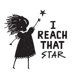 woman or girl reach that star sign vector image