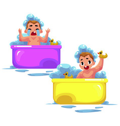 Baby kid infant child taking foam bath happy vector