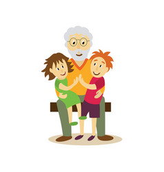 Grandfather sits on bench hugging children vector