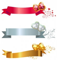 Three banners with jewels vector