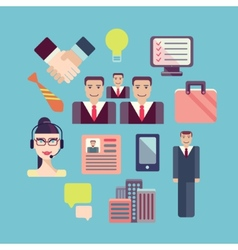 Flat business people meeting icons set of vector