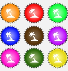 Palm tree travel trip icon sign a set of nine vector