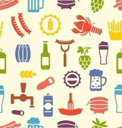 Seamless texture with icons of beers and snacks vector