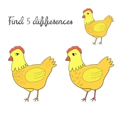 Find differences kids layout for game hen chicken vector