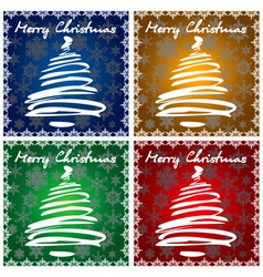 4 christmas greeting cards vector image