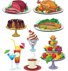 set of dishes vector image