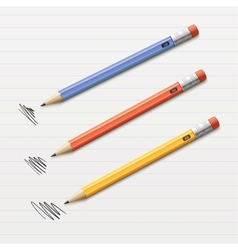 Of 3 sharpened pencils vector